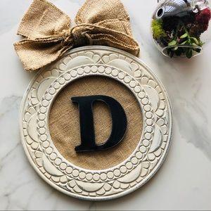 "NWT letter ""D"" wall decor burlap"